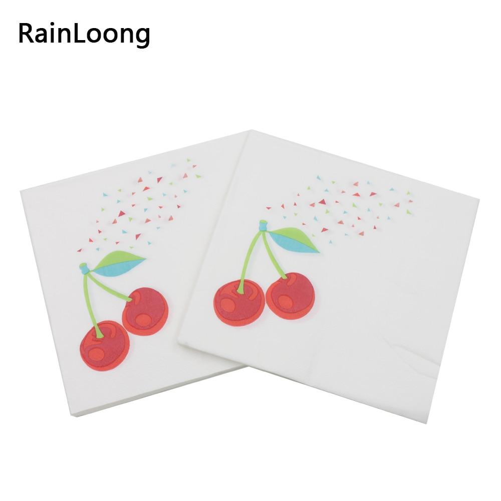 [RainLoong] Beverage Paper Napkins Cherry Event & Party Tissue Napkins Decoration Serviettes 33cm*33cm 1pack/lot