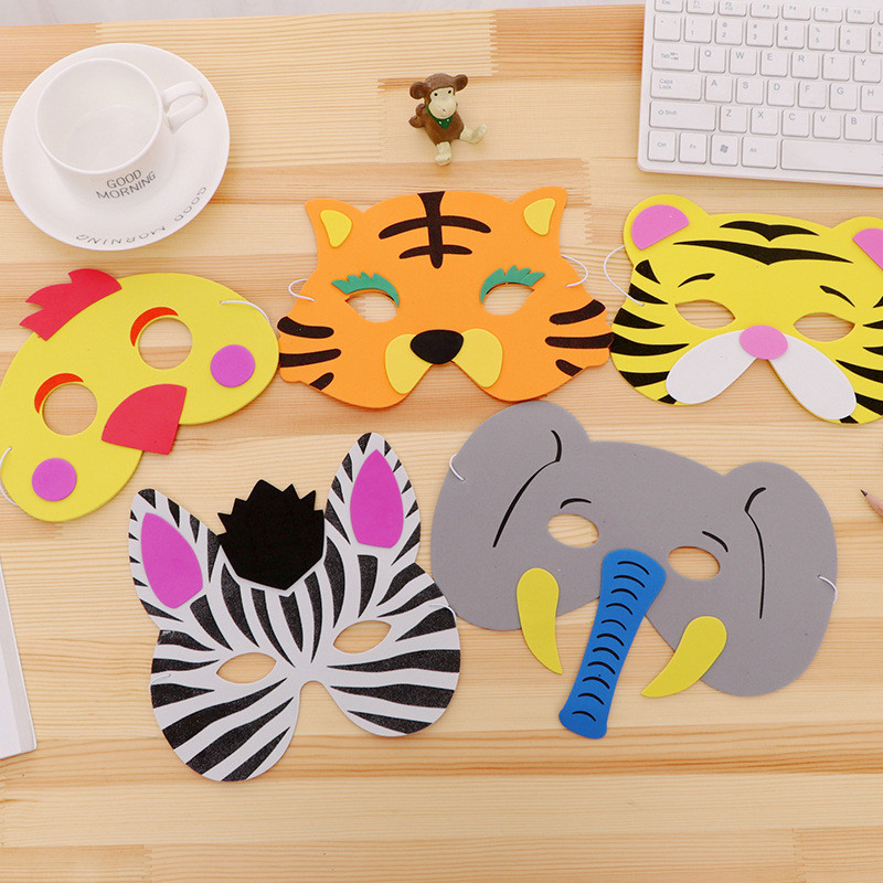 Kid's Party Toys & Hobbies Lower Price with 3pcs Random Mask Birthday Party Supplies Eva Foam Animal Zoo Jungle Masks Cartoon Hats Kids Party Dress Up Party Decoration Careful Calculation And Strict Budgeting