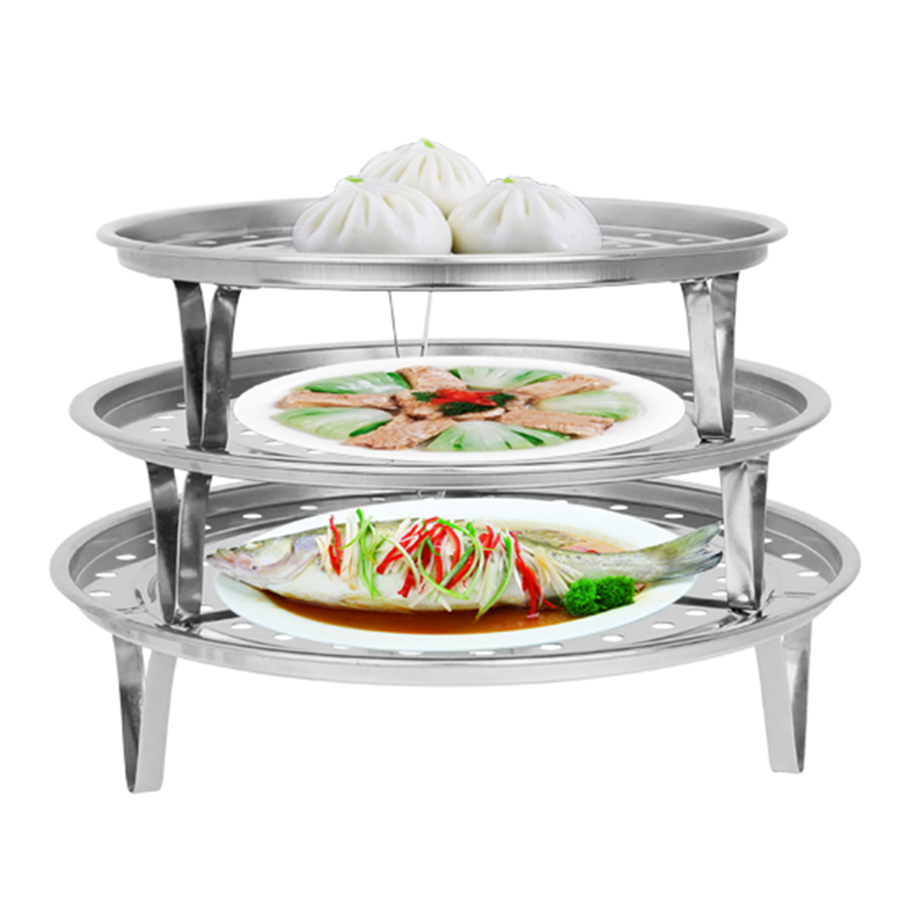 New Arrival Stainless Steel Shelf Insulated Three-Leg Steamer Dumpling Tray Food  Rack Drawer Kitchen Folding Steamer Basket
