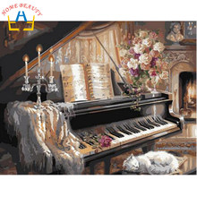 Home Beauty 40x50cm framed picture paint on canvas diy digital oil painting by numbers home decoration craft gifts piano J036(China)