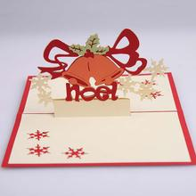 Christmas Bell Holly Cards 3D Pop Up Paper Greeting Wishes Holiday Festival Gift