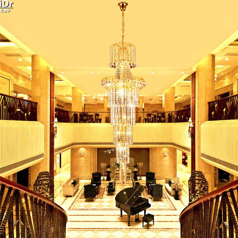 Золотисто-желтый вилла пентхаус зал лампы гостиной лампы кристалл фары лестницы Люстры lmy-008