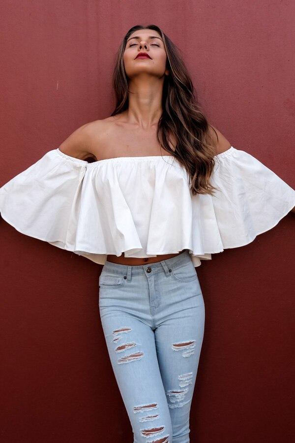 e3b2a9b2147d8 New white off shoulder sexy blouse women 2017 women tops flare sleeve crop top  kimono short women blusa harajuku-in Blouses   Shirts from Women s Clothing  ...