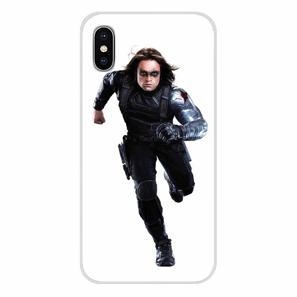 TPU Transparan Case untuk Xiaomi Redmi 4A S2 Note 3 3S 4 4X 5 Plus 6 7 6A Pro pocophone F1 Marvel Musim Dingin Prajurit Bucky Barnes