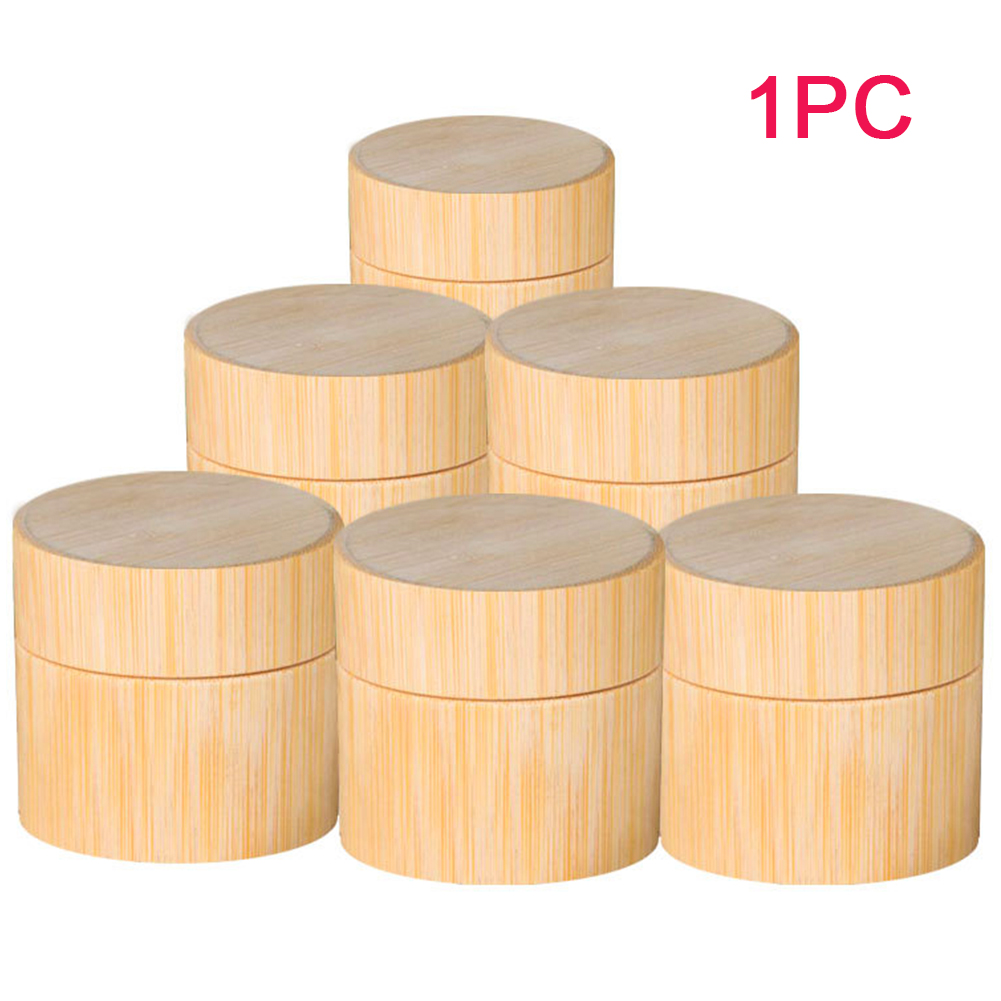 Storage Pot Cosmetic Mask Facial Cream Jar Refillable Bottle Round Natural Bamboo Container Travel Box Wear Resistant Empty