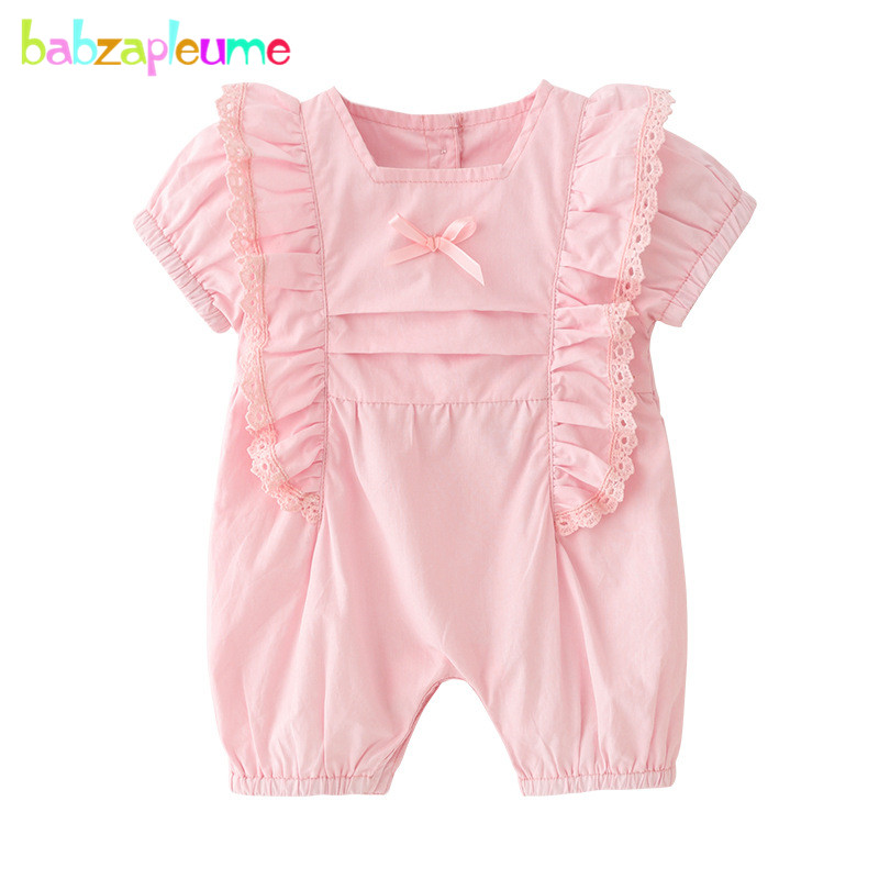 Babzapleume Summer Wear Newborn Clothes Princess Cute Pink Baby Girls Rompers Short Sleeves Baby Jumpsuit Toddler Costume Bc1143 Elegant Appearance Rompers Bodysuits & One-pieces