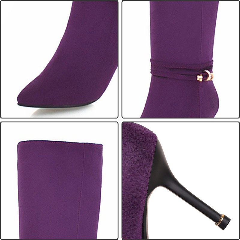 Alta Británico Mujeres Rodilla Botas purple Moda Tamaño Fur Fanyuan Zapatos Más black Black Alto Montar Fur Tacón Without Otoño Delgado With De Invierno Sexy Fur pqtw5q