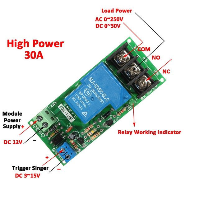 1PC Hot Sale DC 12v High Power 30A Delay Time Counter Relay Control ...