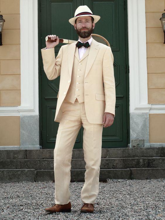 Latest Coat Pant Designs Champagne Tan Linen Men Suit