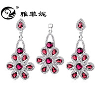 bohemia style Sun flower pendant 925 sterling silver set for women earring and necklace sets
