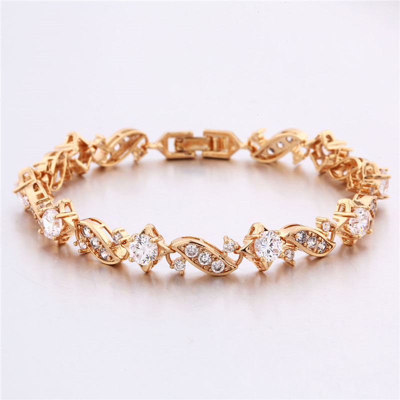 BUDONG 18cm Fashion Hand Bracelets for Women Silver/Gold Color Bracelet Pink Crystal Cublic Zirconia Jewelry Bangles XUL104 14