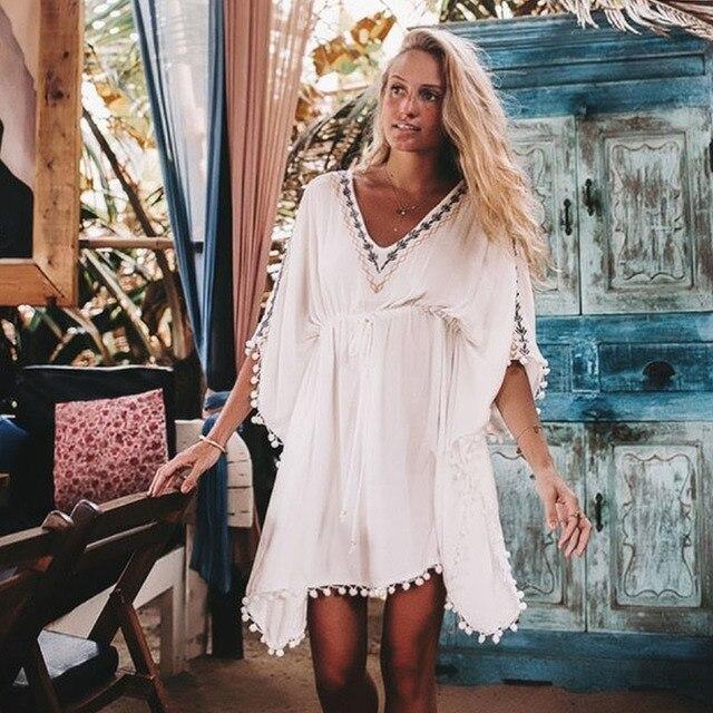61fd9ac45b7875 2019 Beach Cover Up Swimsuit White V Neck Bat Sleeves Loose Beach Dresses  Swimwear Women Bikini Bathing Suit Summer Beach Wear