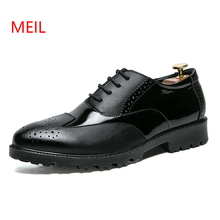 Men Formal Shoes Top Quality Leather Mens Office Dress Shoes Black Lace-up Casual Brogue Shoes British Style Fashion Oxfords Man mycolen luxury leather brogue mens lace up handmade flats shoes british style men fashion men shoes brand dress shoes for men