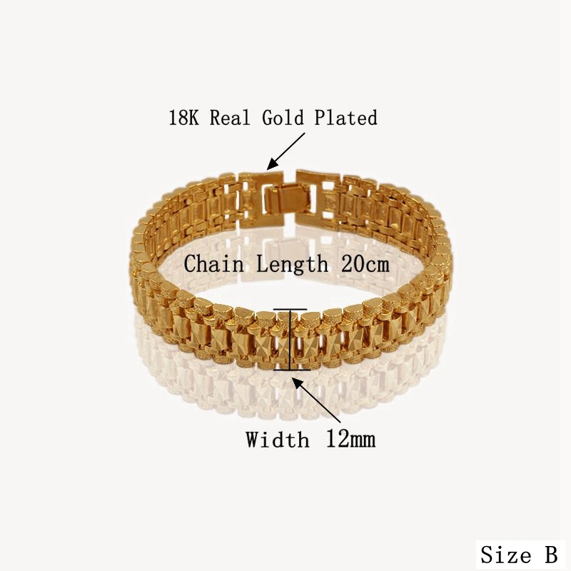 Male Bracelet Women Jewelry 12MM Pulseira Masculine Trendy Gold Color Chunky Chain Link Bracelet Wholesale Bileklik For Man P166 6