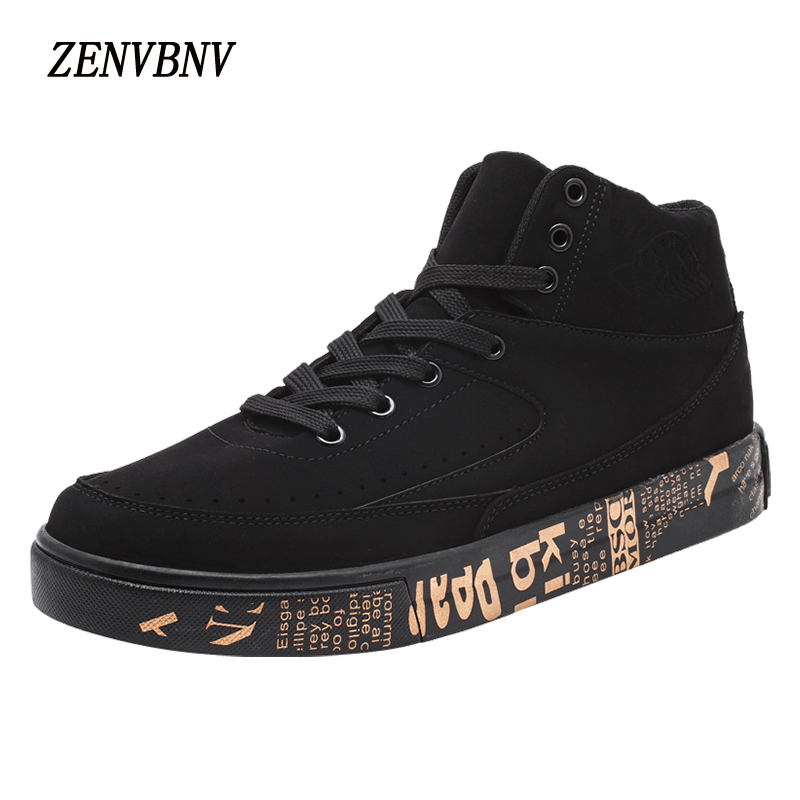 ZENVBNV Men Casual Shoes 2017 Autumn Winter New Lace-up Style Fashion Artificial Leather Solid Rubber Youth High Top Sneakers new autumn serene 6280 fashion vintage low top lace up high quality cow leather men s casual shoes