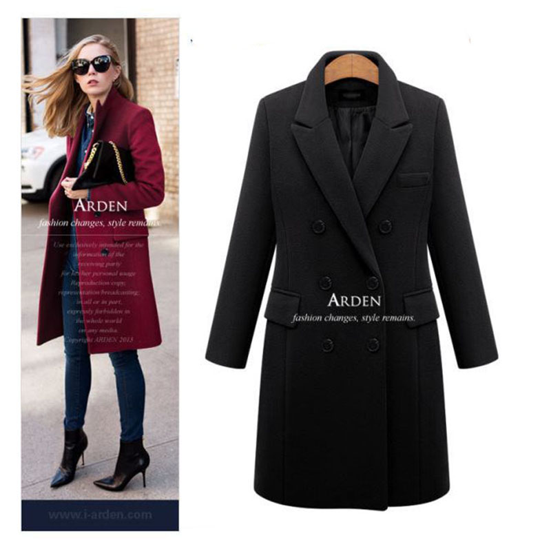 Autumn Winter Coat Women 19 Casual Wool Solid Jackets Blazers Female Elegant Double Breasted Long Coat Ladies Plus Size 5XL 4