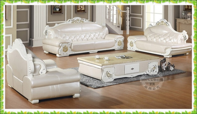 Ivory White Leather Sofa French Style Living Room Sofa Hot Selling