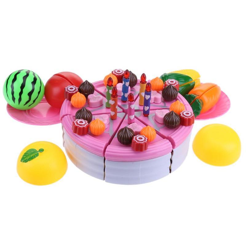 49pcs DIY Fruit Birthday Cake Food Kitchen Cutting Toys Pretend Cutting Cake Cream Plastic Play Sets Kids Gifts For Boys Girls