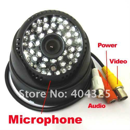 ФОТО 1 4 420TVL Sharp CCD Color Indoor Dome CCTV Security Audio Camera MIC 48 IR Leds Day & Night