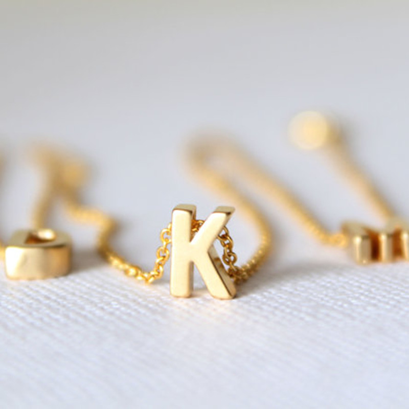Tiny Gold Initial Necklace Gold Letter Necklace Initials
