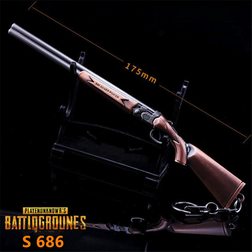 Game PUBG Playerunknowns Battlegrounds Cosplay Costumes Props Alloy S686 Weapon Arms Gun Model Key Chain Chicken Dinner