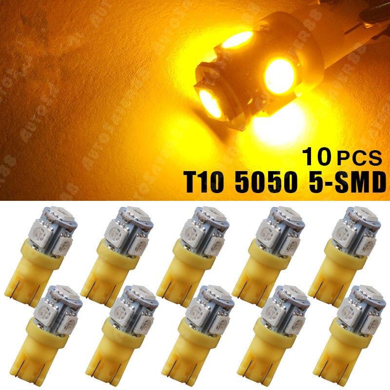 10PCS Amber/Yellow T10 Wedge Side 5050 5SMD Car LED light 158 168 192 194 921 2825 DC 12V 24V carprie car light 5pcs 10pcs t10 wedge 5 smd 5050 xenon led light bulbs 168 194 w5w 2825 158 fog white yellow light lamp bulb