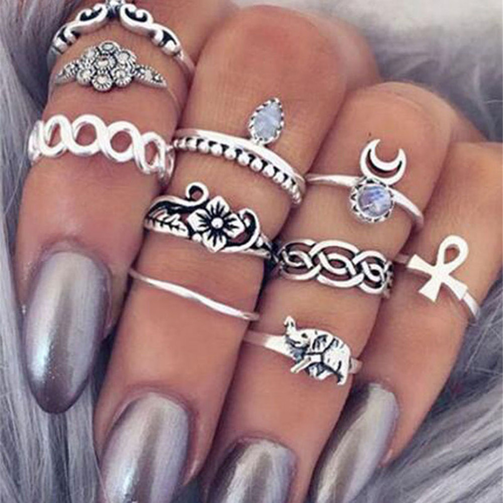10 Pcs/lot Tribal Ethic Hippe Stone Joint Finger Rings Set for Women Moon Flower Elephant Pattern Punk Style Knuckle Ring