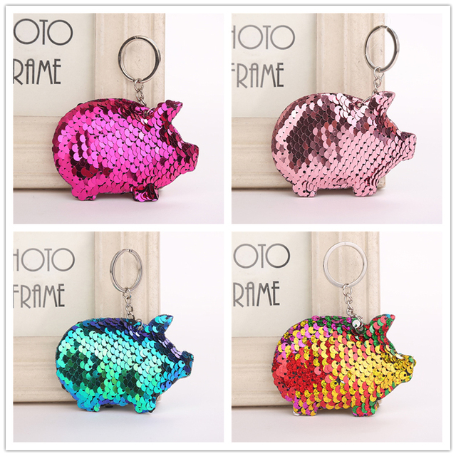 Fashionable Cute Pig Shape Key Chain Reflective Glossy Key Ring Gift Jewelry Women Phone Case Bag Wallet Accessories Key Chain
