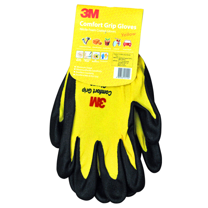 3M Wear-resistant Gloves Anti-skid Comfortable Nitrile Rubber Gloves Size L Working Gloves Orange/Green/Yellow KM007 cut resistant retardant gloves nitrile rubber spandex lining gloves yellow size l xl top quality gm1140