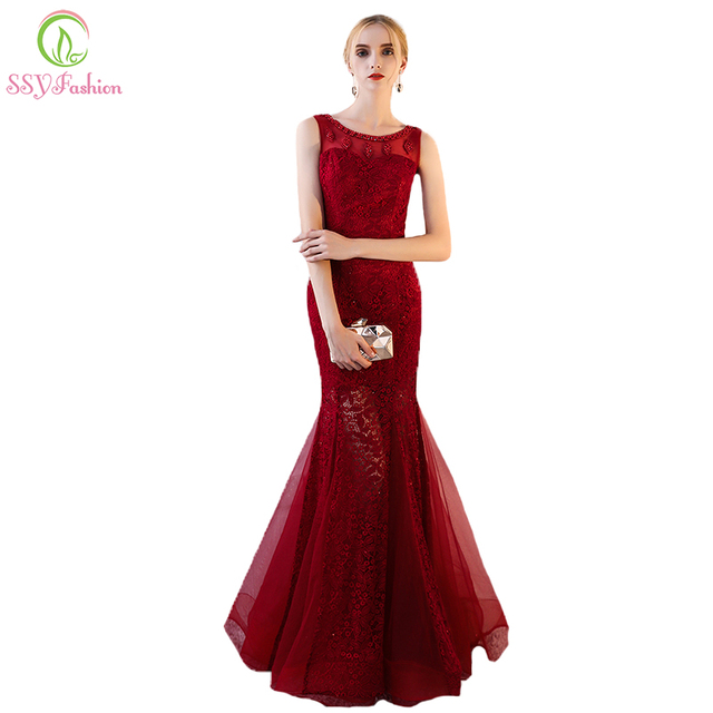 SSYFashion New The Banquet Elegant Mermaid Evening Dress Wine Red Lace  Embroidery with Beading Sexy Fishtail Prom Party Gown 4e6c29f82caa