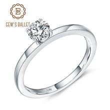 GEMS balet 10K białe złoto pierścień przyrzeczenia D kolor VVS 5mm 0.5Ct Moissanite Solitaire zaręczyny ślub dla kobiet biżuterii