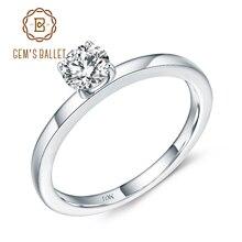 Gems BALLET 10K 화이트 골드 약속 반지 D 컬러 VVS 5mm 0.5Ct Moissanite Solitaire Engagement Wedding For Women 파인 쥬얼리