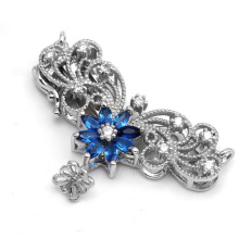 New Arrival 925 Sterling Silver Micro Pave Zircon Royal Blue Crystal Flower Pendant Connector Clasp For Pearl Necklace SC-CZ023