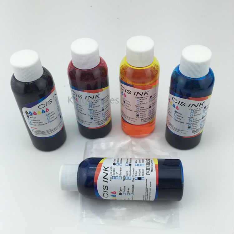 ФОТО Free Shipping 100ML x 5PCS T1381 T1381 T1402 T1403 T1404 Edible Ink For Epson TX525FW 5 Color Inkjet Printer