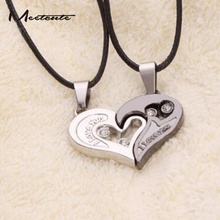 Meetcute Romantic Style Love Heart Pendant Necklace Couple Half Heart Shape Collar Chain I LOVE YOU Rope Chain Collar  Necklace