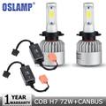 Oslamp 2pcs H7 COB 72W LED Car Headlight Bulbs 8000lm 6500K Auto Fog Light Bulb Headlamp DC12V 24V+CANBUS Wiring Harness Adapter