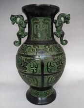 Delicate Chinesische Antike Bronze Drache Phoenix Vene Glck Vase Wohnzimmer Dekoration