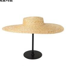 Yaz büyük şapka 15cm geniş ağız güneş şapka kadınlar için fransız tarzı disket hasır şapka bayanlar Kentucky Derby zanaat millinery Hat bankası