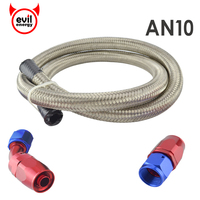 AN10 10 AN STAINLESS BRAIDED OIL FUEL LINE HOSE 1 METER STRAIGHT 45 DEGREE SWIVEL FITTING