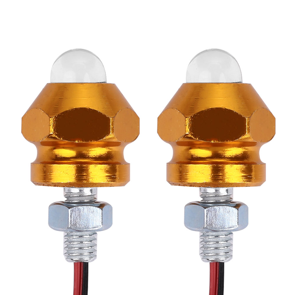 Vehemo для мотоцикла, 2 шт. сигнальный светильник, световой индикатор, красочная сигнальная лампа, лампа для номерного знака, универсальная лампа для мотоциклов - Цвет: gold