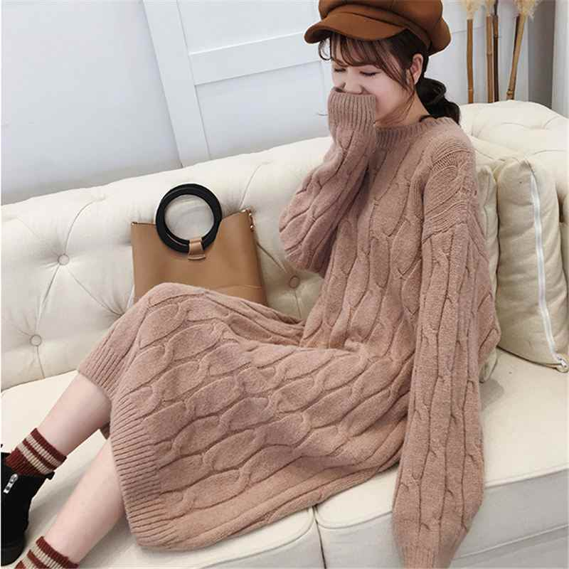 Long Sweaters Dress Women Knitted Pullover Autumn Winter Long Sleeve 2018 Soft Jumper Female Sweet Warm Twisted Flower Tops O801