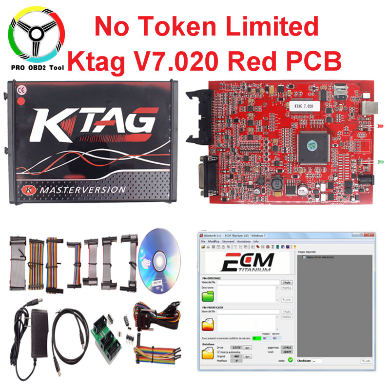 New 4 LED Ktag V7.020 V2.23 Ktag BDM Adapter Red PCB ECU Tuning Chip No Token Limited Kt ...