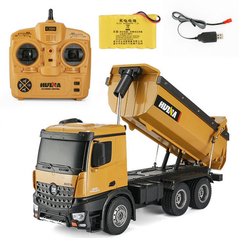Huina 573 RTR 2.4GHz 10 channel 1:14 Remote Control RC Truck Dump self discharging metal Auto Demonstration LED Light RC Toys
