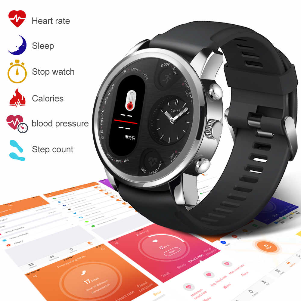 Keoker Smart Watch Men Business Dual Time Zone Display Heart Rate Monitor Fitness Tracker Waterproof Watch For Android IOS