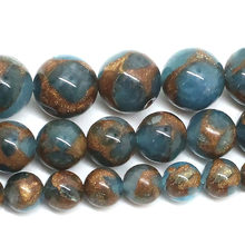 "15""Strand Natural Stone Beads Smooth Sapphires Stone Beads Round Loose Spacer Beads For Jewelry Making Bracelet 4-12mm(China)"