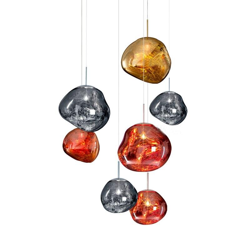 Modern D30/40CM Melt Pendant Lights Glass Lava Irregular Silver Gold Copper Mirror Hang Lamp for Living Room LED Lighting