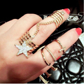ZOSHI Punk Golden stack Plain Cute  for Women Men Party Accessoriesbove Knuckle star Ring Band Midi Rings For Women Jewelry