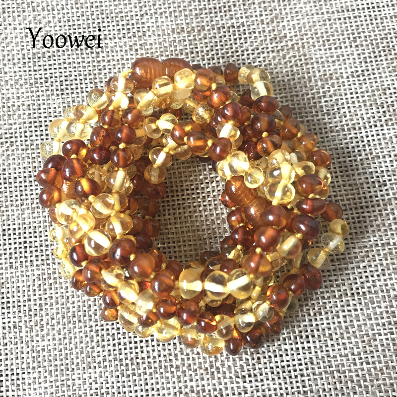 Yoowei 5pcs/lot Baby Amber Bracelet for Gift Natural Golden Cognac Beads Women Custom Jewelry Baltic Amber Bracelets Wholesale