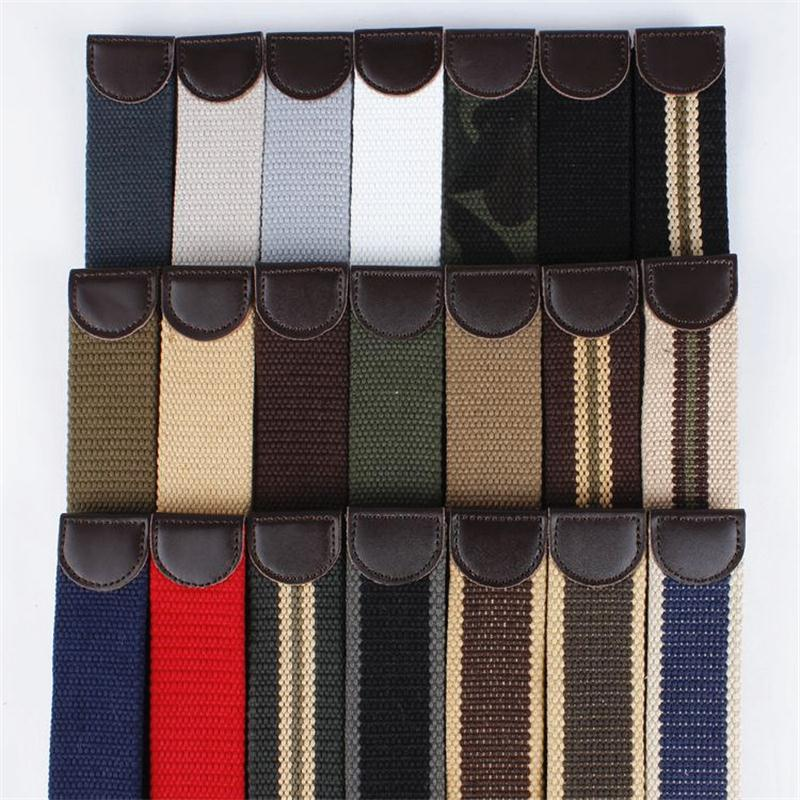 2018 fashion canvas   belt   luxury Thicken   belt   men famous brand outdoor sport Military jeans   belts   without buckle 120cm140cm 160cm