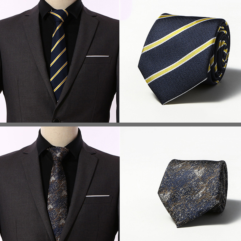 New 8cm 100% Jacquard Woven Silk Tie For Men Striped Neckties Man's Neck Tie For Wedding Business Party Factory Sale